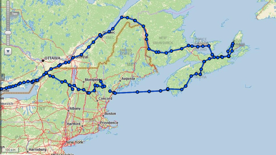 Our route (from our inReach satellite communicator)